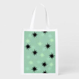 Atomic Jade and Mint Starbursts Reusable Bag