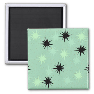 Atomic Jade and Mint Starbursts Square Magnet