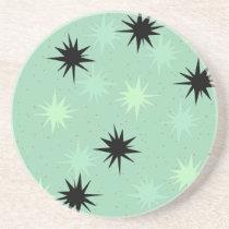 Atomic Jade & Mint Starbursts Sandstone Coaster