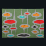 "Atomic Mid-Century Inspired Pattern Cloth Placemat<br><div class=""desc"">Atomic and Mid-Century Inspired abstract in various colors design on a green background.  Perfect for anyone who appreciates mid-century time period.</div>"
