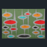 """Atomic Mid-Century Inspired Pattern Cloth Placemat<br><div class=""""desc"""">Atomic and Mid-Century Inspired abstract in various colors design on a green background.  Perfect for anyone who appreciates mid-century time period.</div>"""