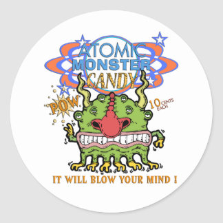 Atomic Monster Candy ! Classic Round Sticker