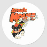 Atomic Mouse cute cartoon art superhero Classic Round Sticker