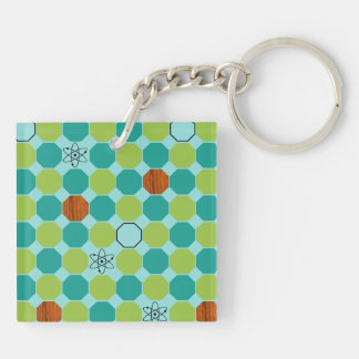 Atomic Octagons Square Keychain