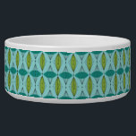 "Atomic Ogee and Starbursts Ceramic Dog Bowl<br><div class=""desc"">Oh, gee! It's an Atomic Ogee and Starbursts Ceramic Dog Bowl! It's a modern take on a classic pattern (a mid century modern take, to be exact). This design features an aqua background with teal and green oval shapes overlaying black, vertical lines of atomic diamonds and starbursts. This mod product...</div>"