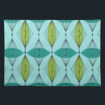 """Atomic Ogee and Starbursts Cloth Placemat<br><div class=""""desc"""">Oh, gee! It's an Atomic Ogee and Starbursts Placemat! It's a modern take on a classic pattern (a mid century modern take, to be exact). This design features an aqua background with teal and green oval shapes overlaying black, vertical lines of atomic diamonds and starbursts. This mod product brings everything...</div>"""