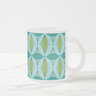 Atomic Ogee and Starbursts Frosted Glass Mug