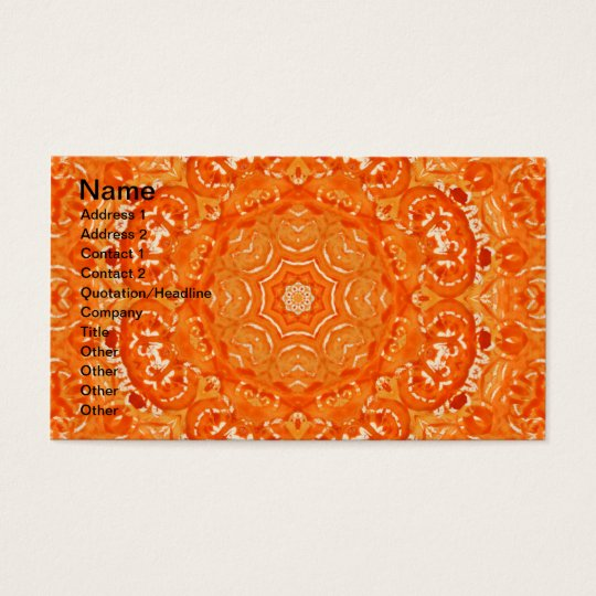 Atomic Orange Watercolor Mandala Business Card