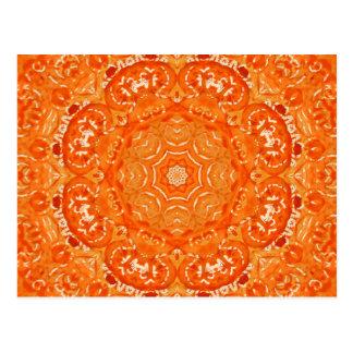 Atomic Orange Watercolor Mandala Postcard
