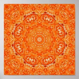 Atomic Orange Watercolor Mandala Posters