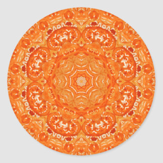 Atomic Orange Watercolor Mandala Round Stickers