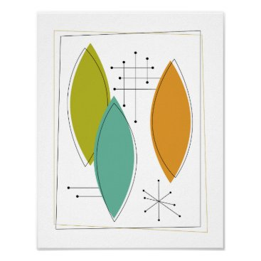 Art Themed Atomic Ornaments Mid Century Modern Art Poster
