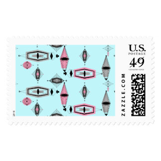 Atomic Pink and Grey Pattern Postage Stamps