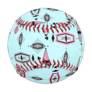 Atomic Pink & Grey Pattern Baseball