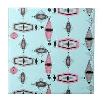 Atomic Pink & Grey Pattern Ceramic Tile