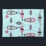 "Atomic Pink &amp; Grey Pattern Kitchen Towel<br><div class=""desc"">This retro Atomic Pink and Grey Pattern Kitchen Towel is so awesome it will have you saying, ""I can't believe it's not barkcloth!"" The vintage inspired design is a new take on mid century modern styles. It offers all of the fun of finding a vintage product without having to schlep...</div>"