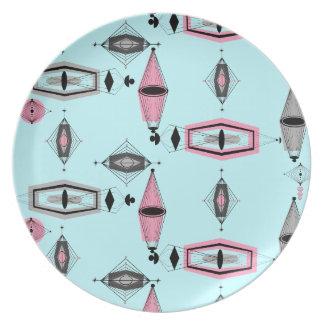 Atomic Pink \u0026&; Grey Pattern Melamine Plate  sc 1 st  Zazzle & Atomic Starbursts Plates   Zazzle