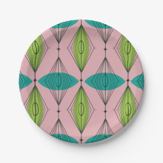 Atomic Pink Ogee and Starbursts Paper Plates