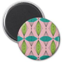 Atomic Pink Ogee & Starburst Round Magnet