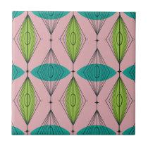 Atomic Pink Ogee & Starbursts Ceramic Tile
