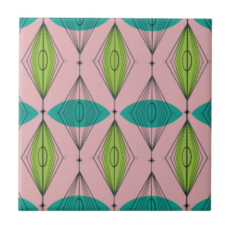 Atomic Pink Ogee & Starbursts Ceramic Tile