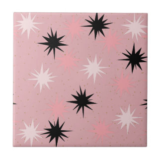 Atomic Pink Starbursts Ceramic Tile
