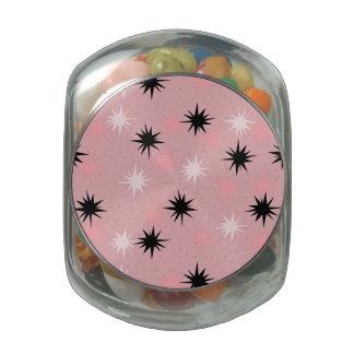 Atomic Pink Starbursts Glass Candy Jar