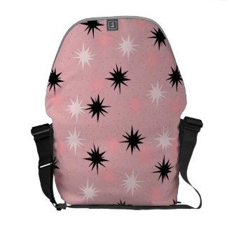 Atomic Pink Starbursts Messenger Backpack Courier Bag