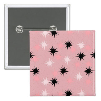 Atomic Pink Starbursts Square Button