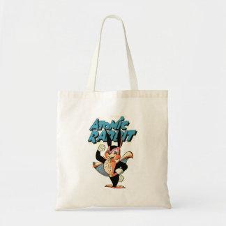 Atomic Rabbit flying comic art superhero Tote Bag