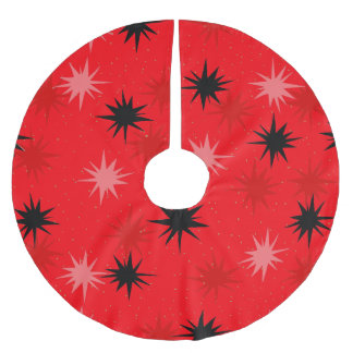 Atomic Red Starbursts Christmas Tree Skirt