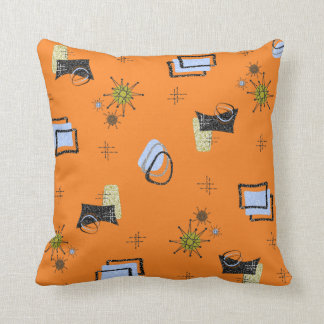 ATOMIC RETRO VINTAGE 1950'S DESIGN PILLOW ORANGE