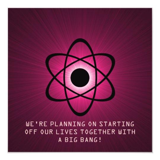 Atomic Save the Date Invite, Fuchsia Card