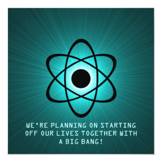 "Atomic Save the Date Invite, Teal 5.25"" Square Invitation Card"