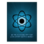 Atomic Save the Date Postcard, Blue