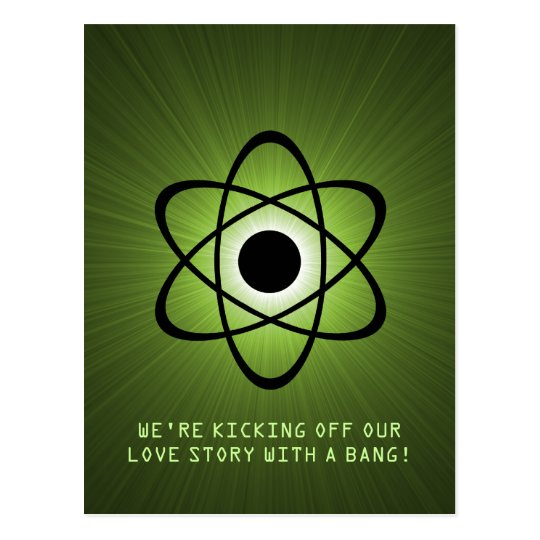 Atomic Save the Date Postcard, Green Postcard