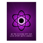 Atomic Save the Date Postcard, Purple