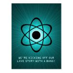Atomic Save the Date Postcard, Teal