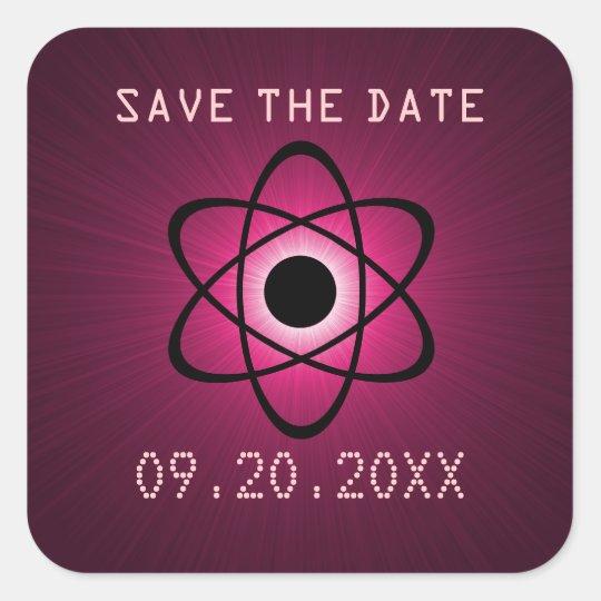 Atomic Save the Date Stickers, Fuchsia Square Sticker