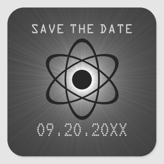 Atomic Save the Date Stickers, Gray Square Sticker