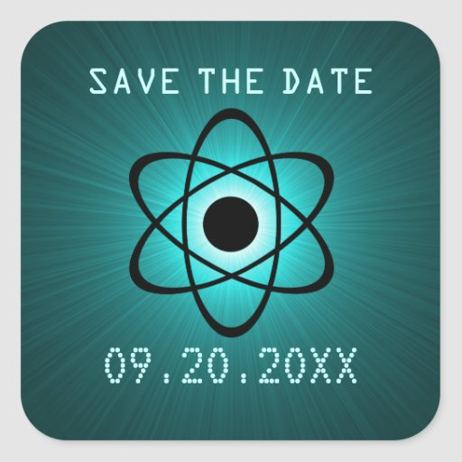 Atomic Save the Date Stickers, Teal Square Sticker