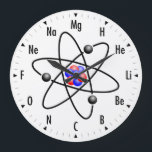 """Atomic Science / Chemistry Clock<br><div class=""""desc"""">Fun and Geeky Science / Chemistry Clock featuring the Atomic elements representing the numbers on the wall clock.</div>"""