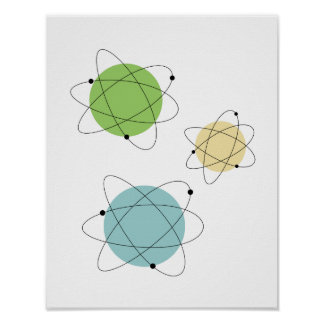 Atomic Solar Blue Tan Green Mid Century Print