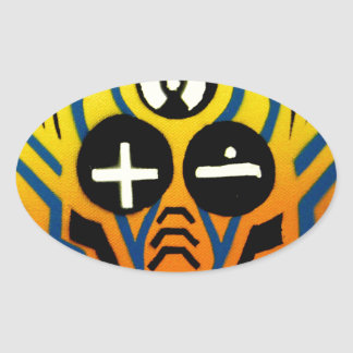 Atomic sound wave man oval sticker