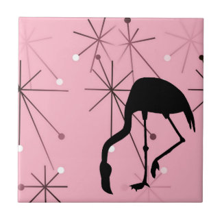 Atomic Starburst MidCentury Modern Flamingo Pink Tile