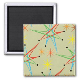 Atomic Starburst Retro Multicolored Pattern 2 Inch Square Magnet