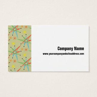 Atomic Starburst Retro Multicolored Pattern Business Card