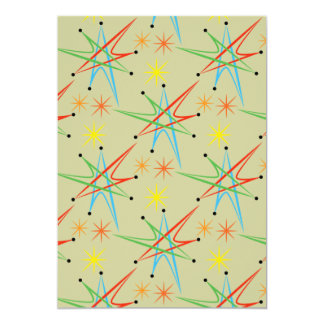 Atomic Starburst Retro Multicolored Pattern Card