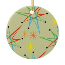 Atomic Starburst Retro Multicolored Pattern Ceramic Ornament