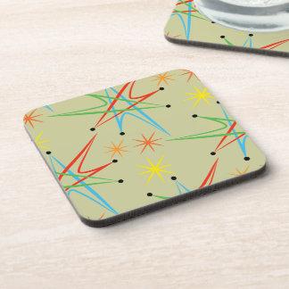 Atomic Starburst Retro Multicolored Pattern Coaster